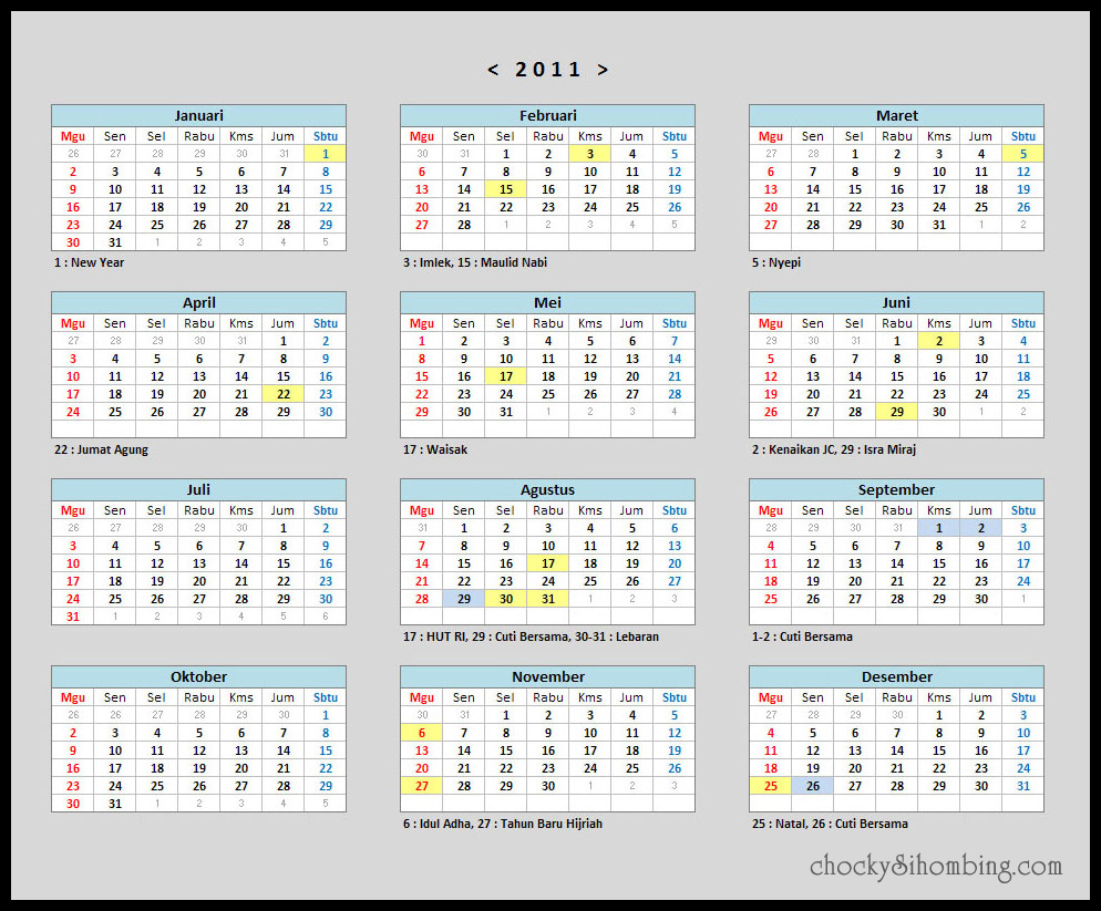 kalender 2011 indonesia chocky sihombing
