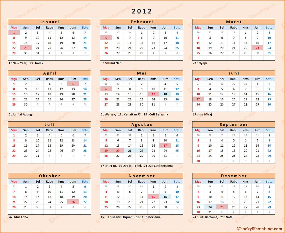 Kalender dan Libur Nasional 2012