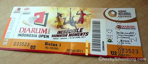 ticket of Djarum Indonesia Open 2011