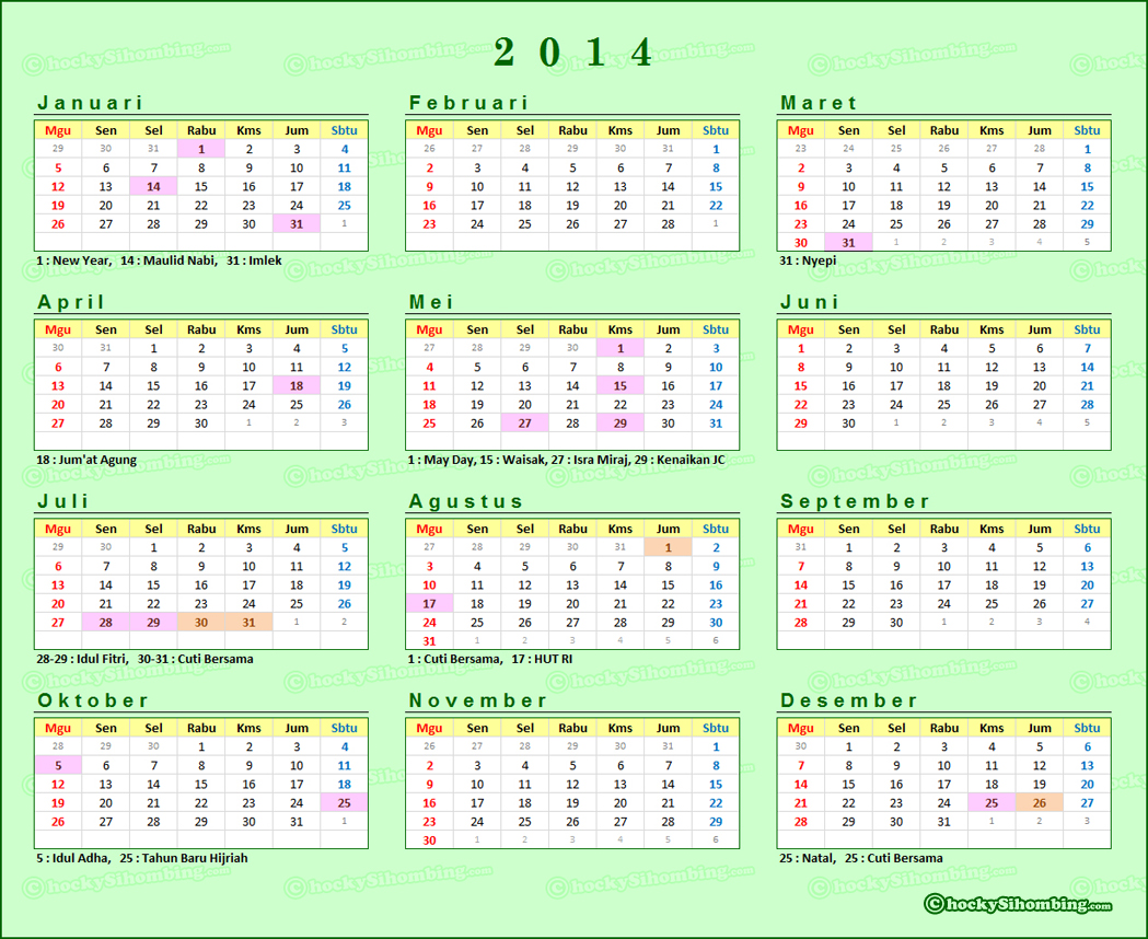 Kalender 2014 Indonesia dan Libur Nasional