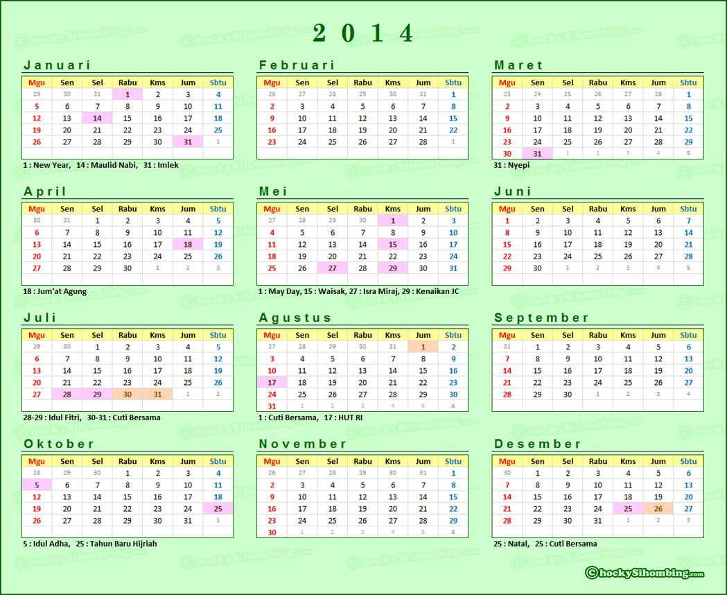 Kalender 2014 Libur Nasional Indonesia