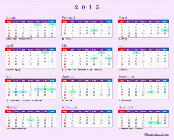Kalender 2015 Indonesia dan Libur Nasional