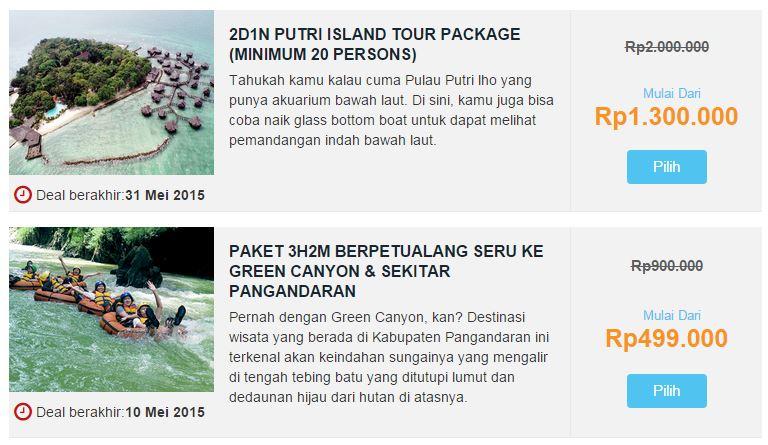 Contoh Package Tour Deals di MisterAladin.com