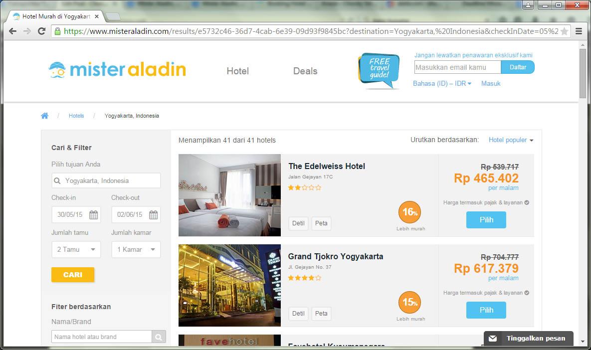 Halaman Hasil Pencarian MisterAladin.com