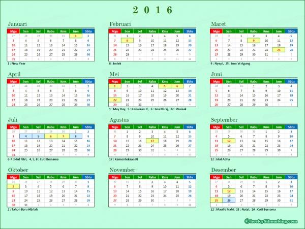 Kalender 2016 Indonesia dan Hari Libur Nasional dan Cuti Bersama
