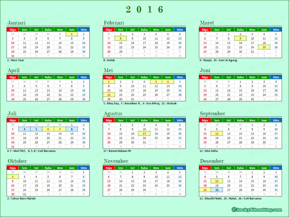 Kalender 2016 Lengkap