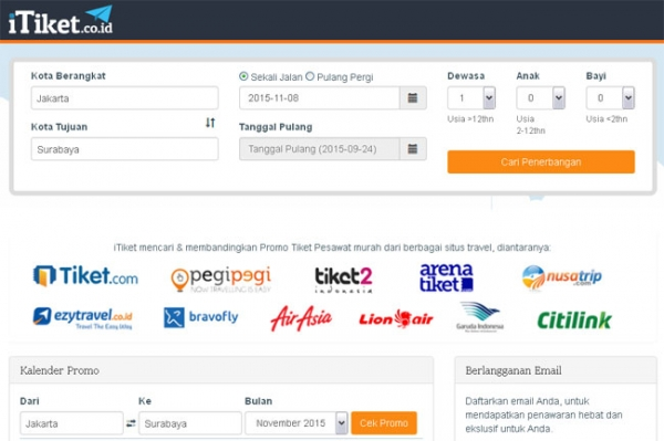 Tampilan Homepage iTiket.co.id