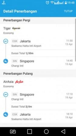 Detail tiket penerbangan yang saya beli untuk tanggal 13 dan 19 April 2017