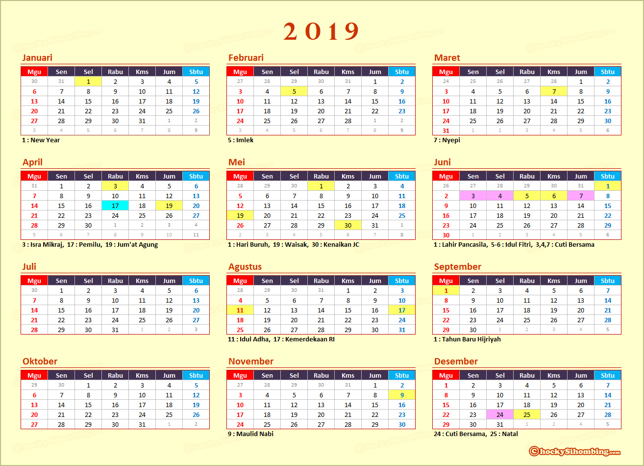 Kalender Dan Libur Nasional 2019 Chocky Sihombing
