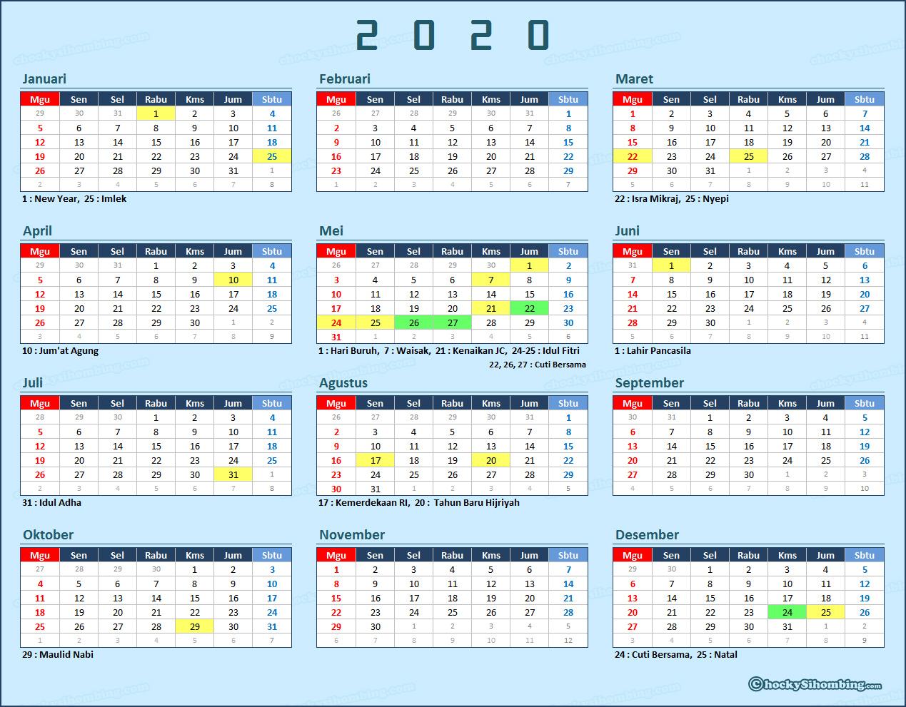 Kalender dan Libur Nasional 2020 | Chocky Sihombing